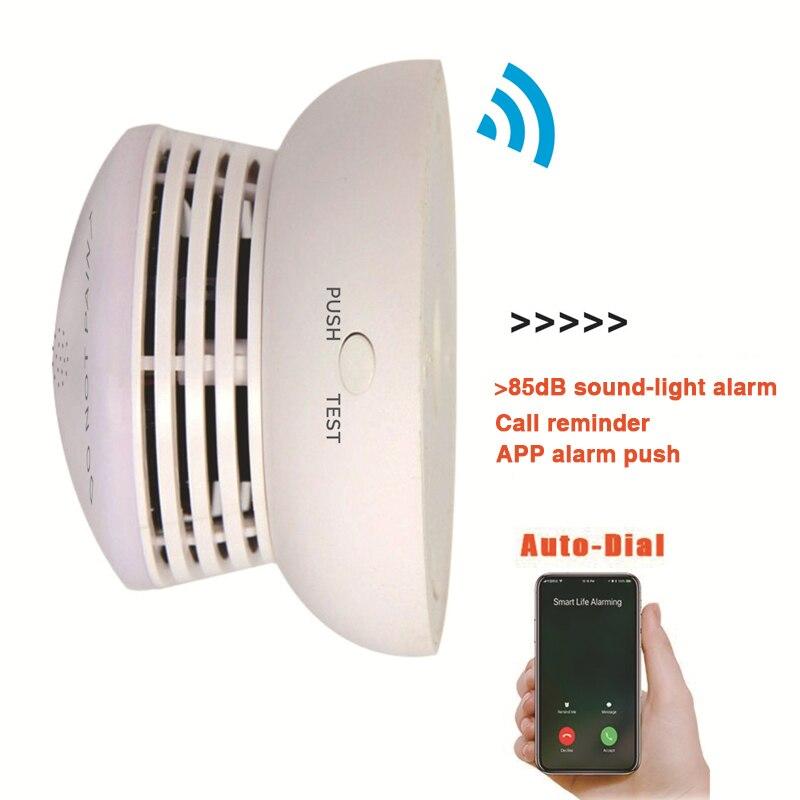 2019 offre spéciale 2.4G Wifi sans fil détecteur de fumée capteur intelligent maison Anti-feu détection soutien Tuya vie intelligente App télécommande