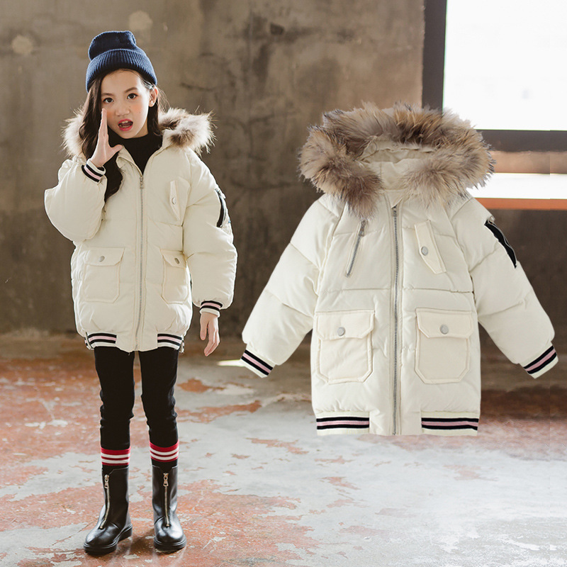 2018 Winter Girl Cartoon Patch Clothes Keep Warm Fashion Cotton-padded Jacket Loose Coat Children's Garment 2016 new fashion winter jacket men high quality brand thickening casual cotton padded keep warm men coat parkas 1358