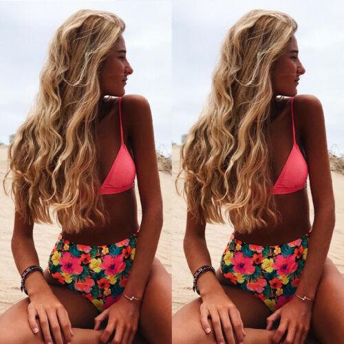 Women Push-up Padded Bra Bandage Bikini Set Swimsuit E Print Swimwear Bathing