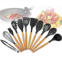 11 Pcs Utensils Hanging Whisk Heat-Resistant Multifunction Wooden Handle Cooking Silicone Shovel Scoop Non-stick Cookware Set