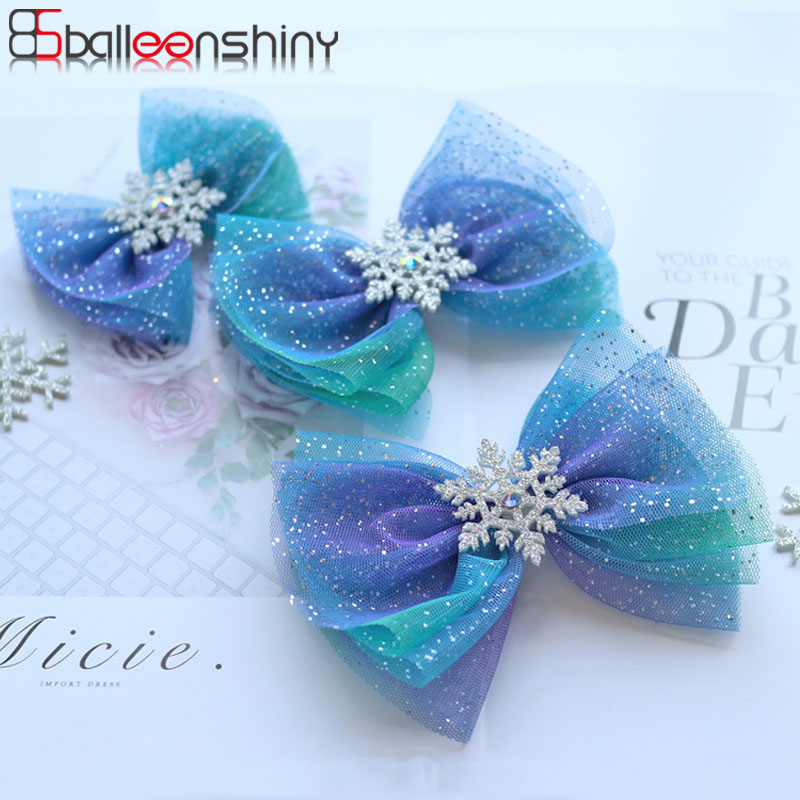 Balleenshiny Ins Hairpin Children's Headwear Glitter Aisha Star Bow Baby Hair Clip Little Fairy Streamer Headdress Kids Gifts