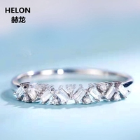 0.16ct SI/H Natural Diamonds Engagement Ring Solid 14k White Gold Baguette Cut Round Cut Diamonds Women Wedding Band