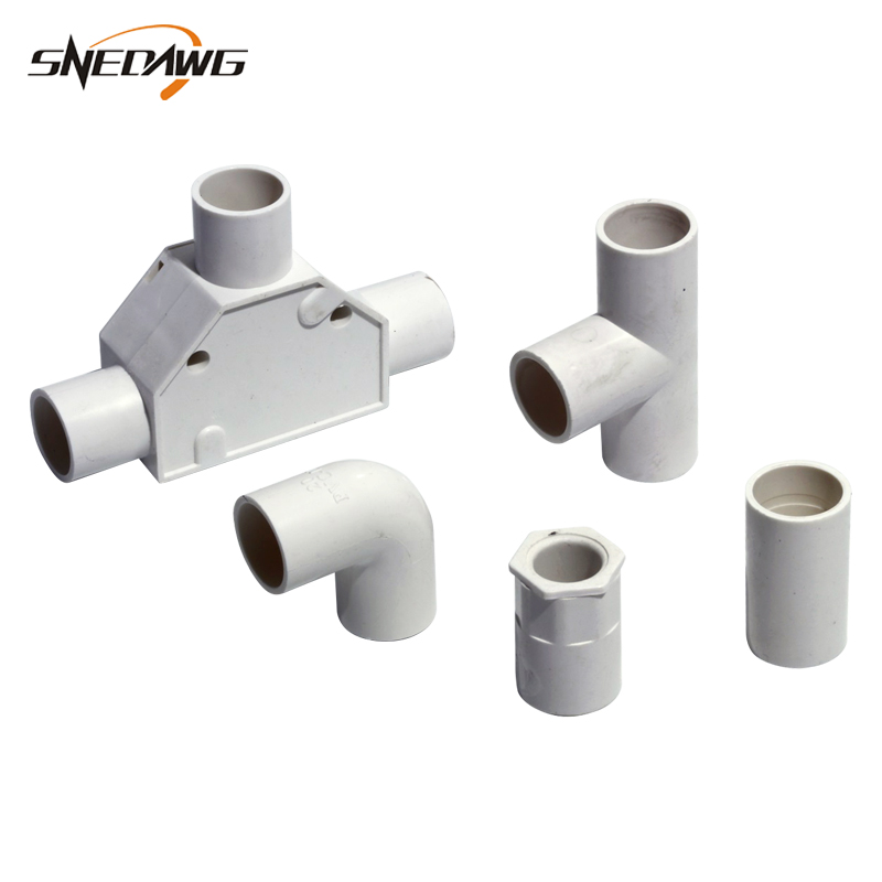 2pcs PVC Electric Wire Pipe Fitting Flame Retardant 16/20/25/32mm Pipe Joint PVC Plastic Electric Wire Supply Pipe Joint Fitting