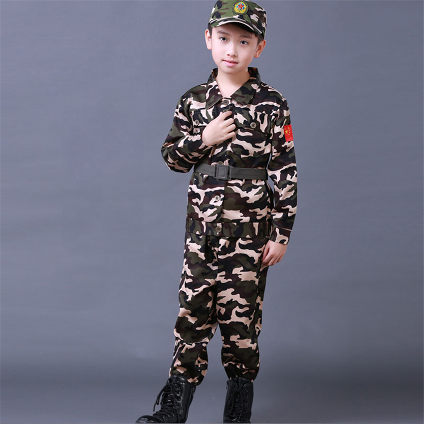 100-180 Children Military Army Suit Halloween Cosplay Camouflage Uniform Kid Summer Camp Party Costumes 4pcs Soldier Set
