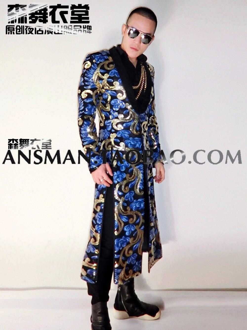 Mode Picture Totem La S Broderie Le As Manteau Costumes Hommes Longue Nouvelle Plus Chanteur 2018 Taille 5xl Tranchée De Vêtements Fente wRSx4FYq