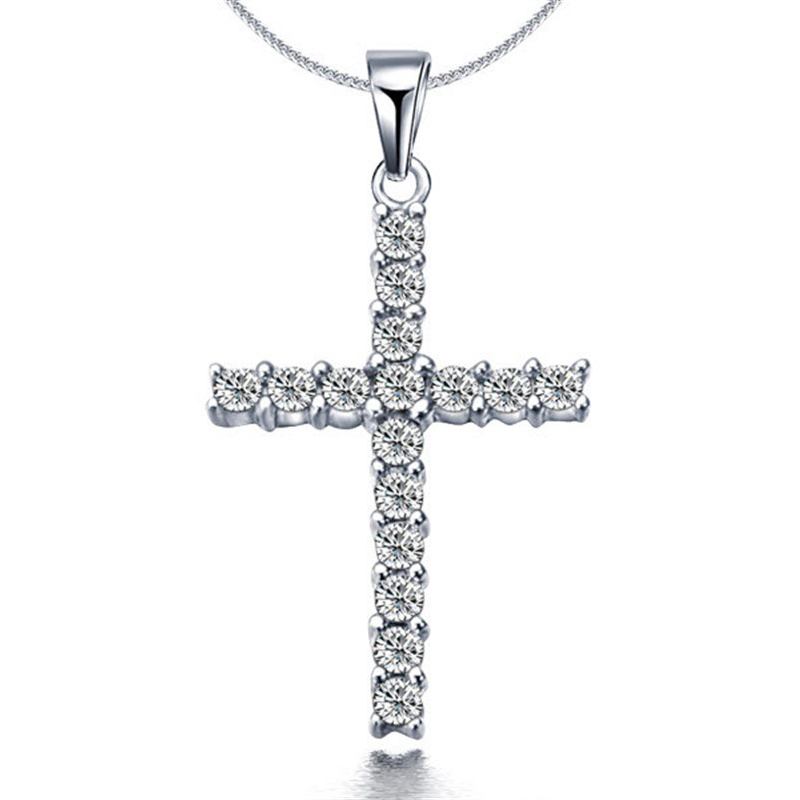 LNRRABC New Fashion Necklace Cross Pendant Long Sweater Accessories Silver Crystal Womens Jewelry Hot Sale