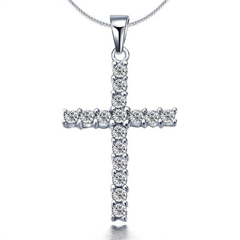 LNRRABC Новая мода ожерелье крест кулон длинный свитер ожерелье аксессуары Серебряный Кристалл женские ювелирные изделия горячая распродажа