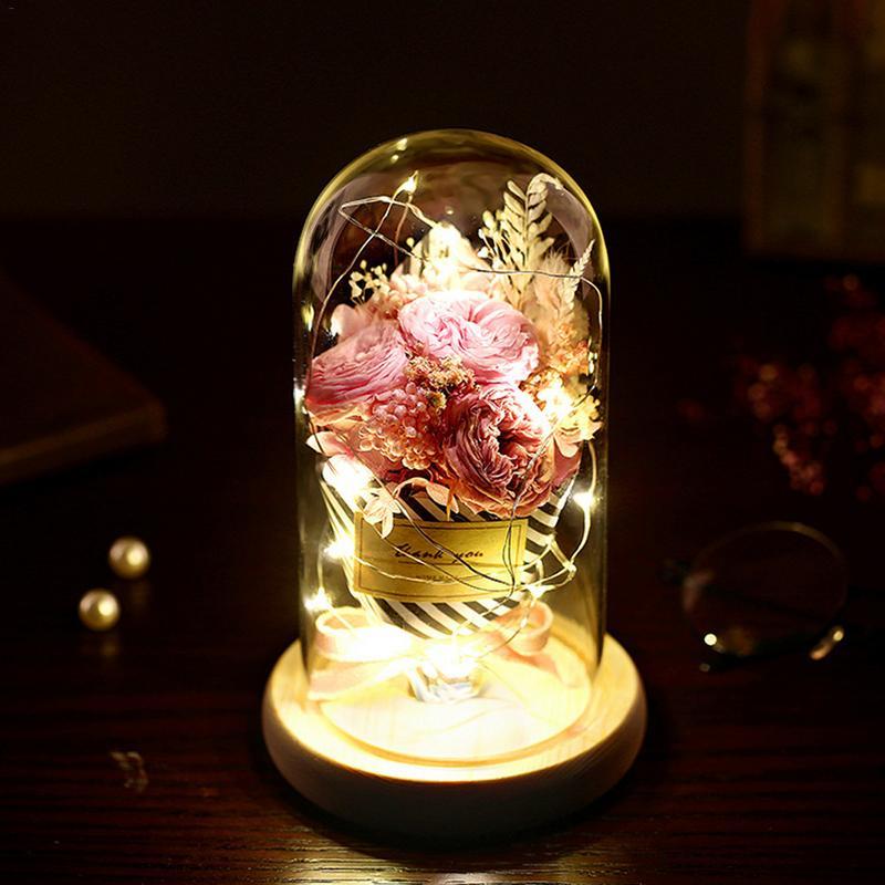 Glass Cover Eternal Light Flower Gift DIY Dry Rose Romantic Valentine's Day Birthday Wedding Decoration Illuminate Gift Flowers