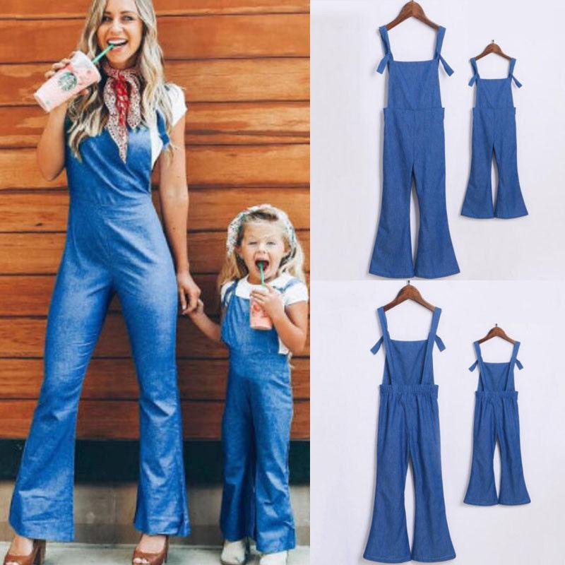 Enthousiast Mode Familie Bijpassende Sets Mama Kinderen Casual Denim Romper Mouwloos Blauw Riem Jumpsuits Jeans Slanke Broek