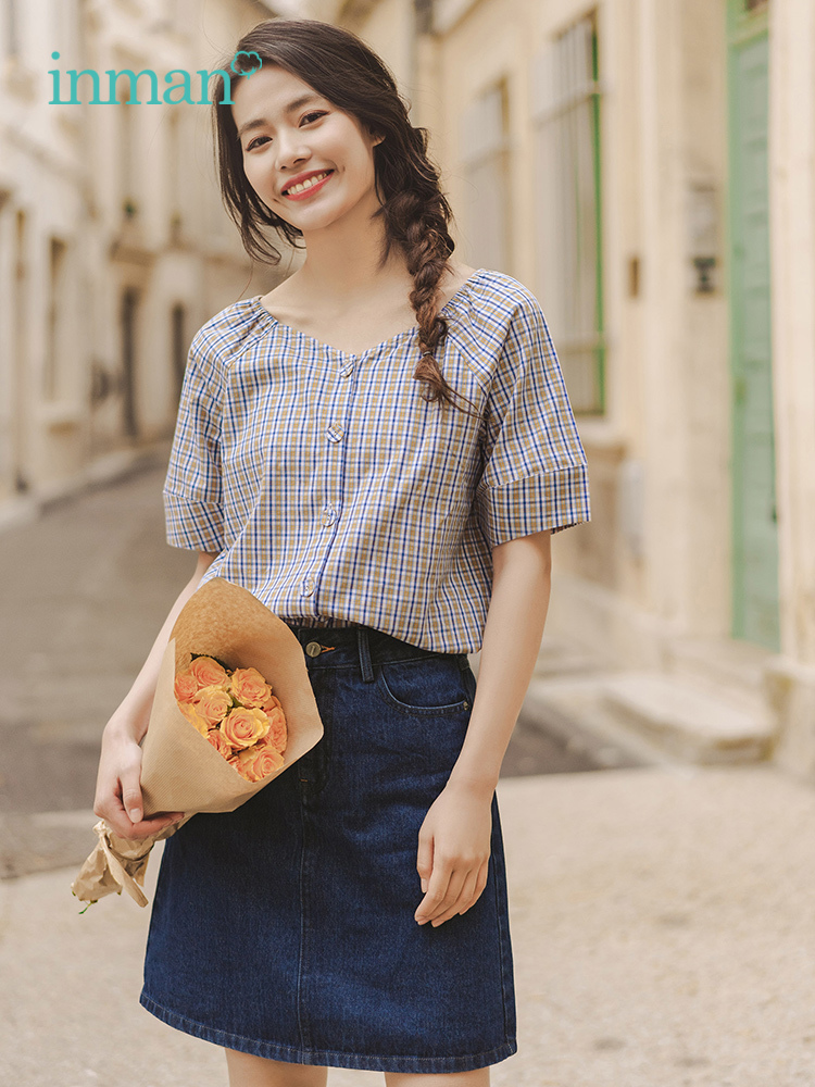 Inman 2019 Summer New Arrival Plaid Literary Retro Casual Minimalism All Matched Blouse Jean Skirt Women Two Pieces Suit