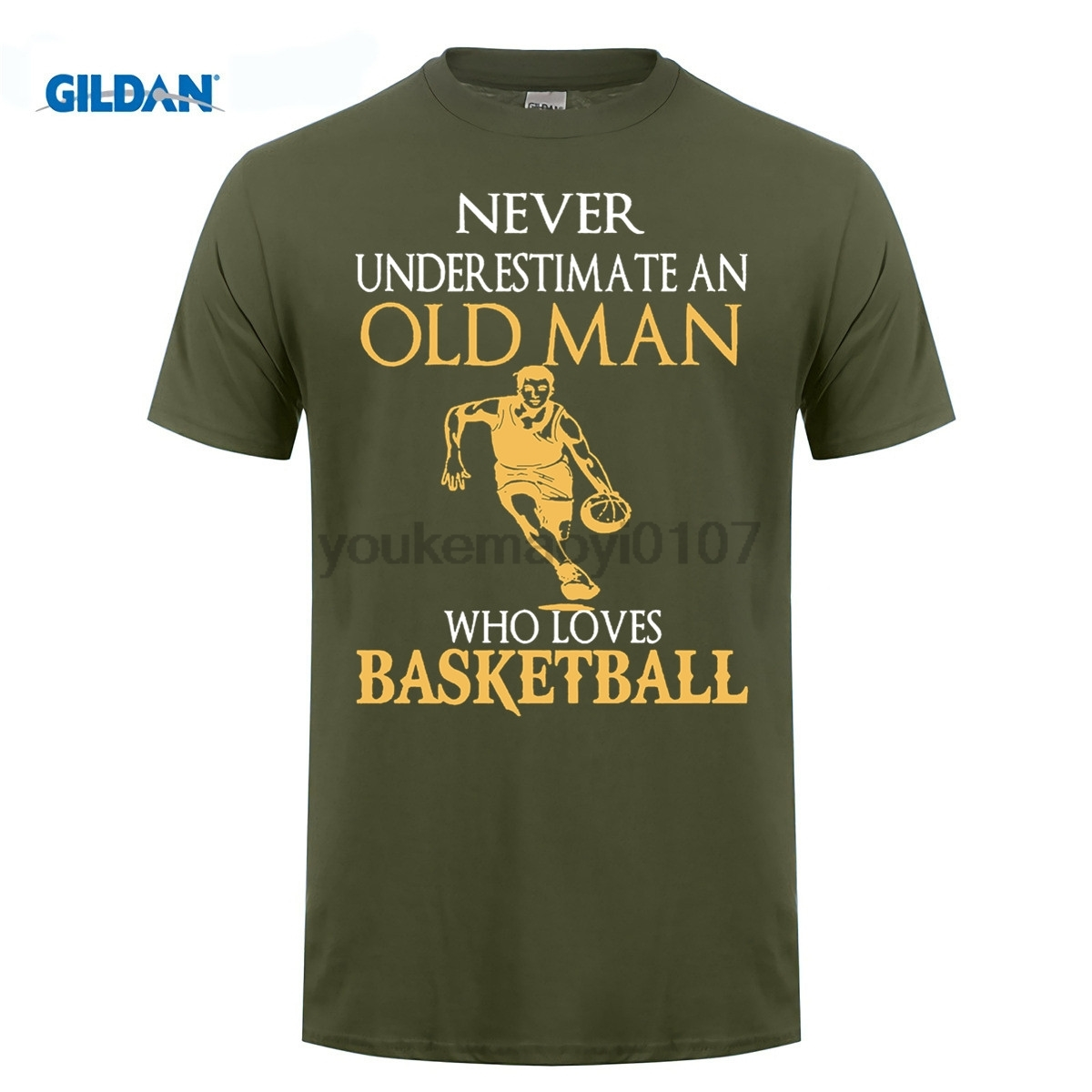 GILDAN  Fashion Short Gildan Crew Neck Never Underestimate An Old Man Basketballer T Shirts