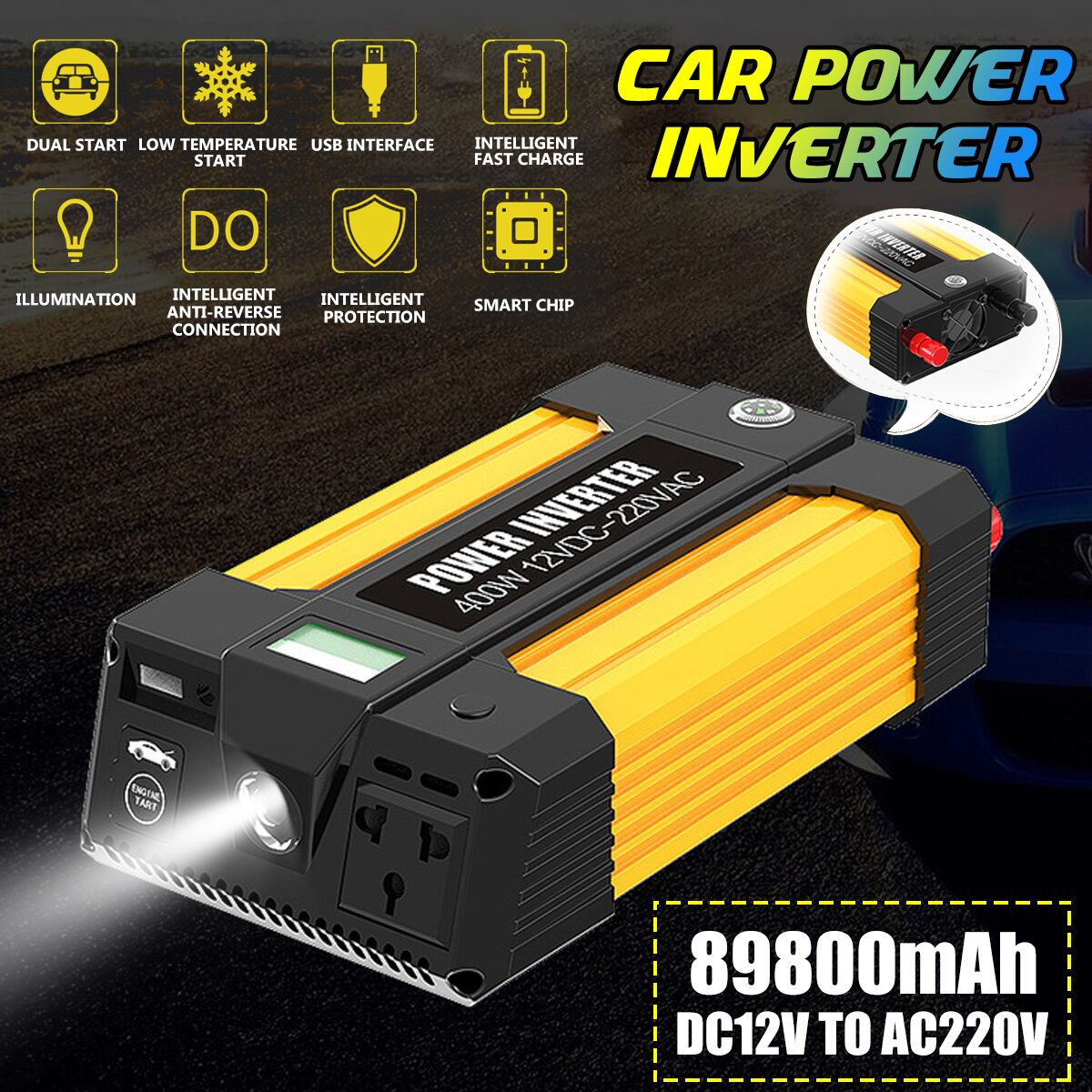 2 IN 1 Car Jump Starter Power Inverter Portable Charger Battery Power Bank 400W DC 12V To AC 220V USB Battery Booster Power Bank(China)