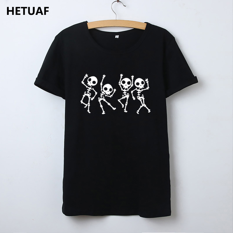 HETUAF Skeleton Halloween T Shirt Women Skull Punk Rock Graphic Tee Shirt Femme Cool Woman Tshirt Top Kawaii Camisetas Mujer