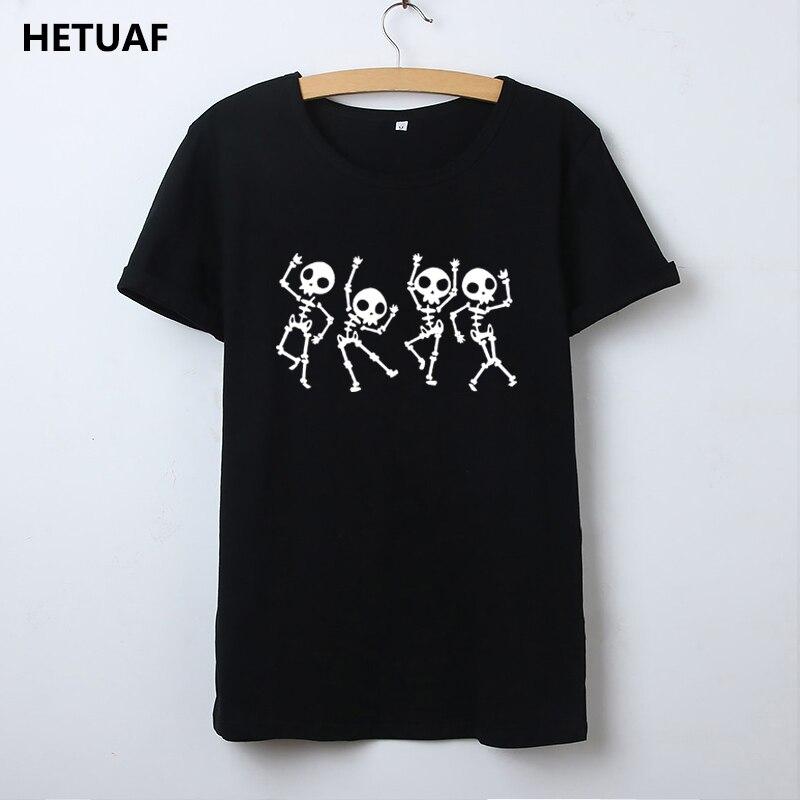 HETUAF Skeleton Halloween   T     Shirt   Women Skull Punk Rock Graphic Tee   Shirt   Femme Cool Woman Tshirt Top Kawaii Camisetas Mujer