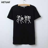 HETUAF squelette Halloween t-shirt femmes crâne Punk Rock graphique t-shirt Femme Cool Femme t-shirt haut Kawaii Camisetas Mujer
