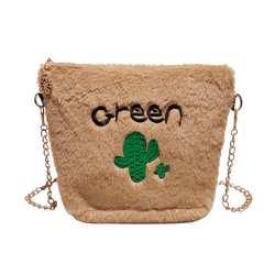 Модные дизайнерские Для женщин сумки из натуральной кожи качественные плюшевые кактус Для женщин сумочка Ужин сумка вечерние кошелек