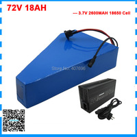 2000W 72V 18AH lithium Scooter battery 72V triangle e-bike battery with bag 30A BMS 84V 2A Charger