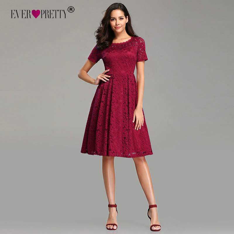 Robes   Cocktail   2019 Ever Pretty Elegant A-line Short Sleeve Full Lace   Cocktail     Dress   Sexy Short Wedding Party Gowns Knee Length