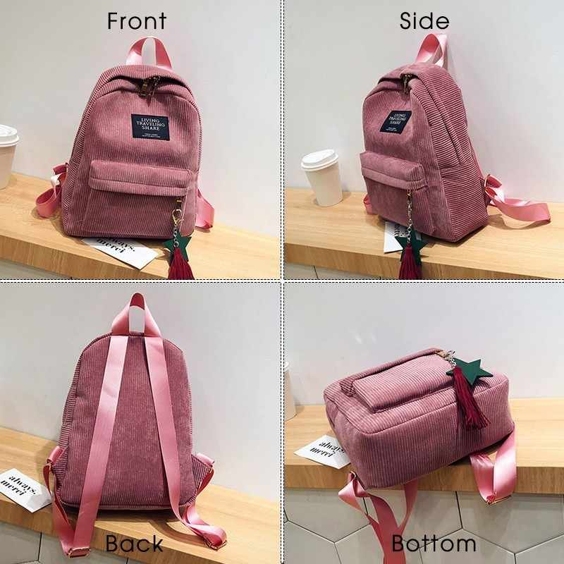 Herald Fashion Women plecak z pomponem jakości sztruksowe torby szkolne styl Preppy torba studencka na dziewczynę plecak podróżny Mochila
