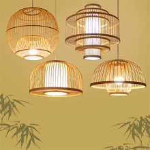 Chinese Wood LED Pendant Lights Lighting Bamboo Living Room Pendant Lamps Dining Room Hanging Lamps Kitchen Fixtures Luminaire chinese wooden pendant lamps dining rooms tea houses corridors balcony entrance round lamps pendant lights za zl508