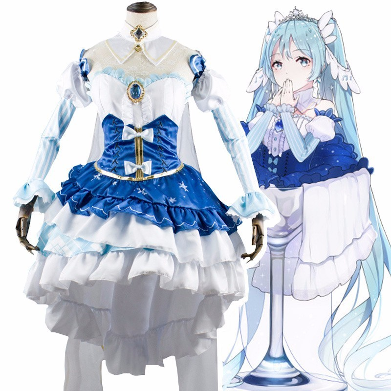 VOCALOID Hatsune Miku Cosplay Costume Winter Snow Miku Princess Dress Women Lolita Maid Dress Harajuku Anime Uniform Outfits