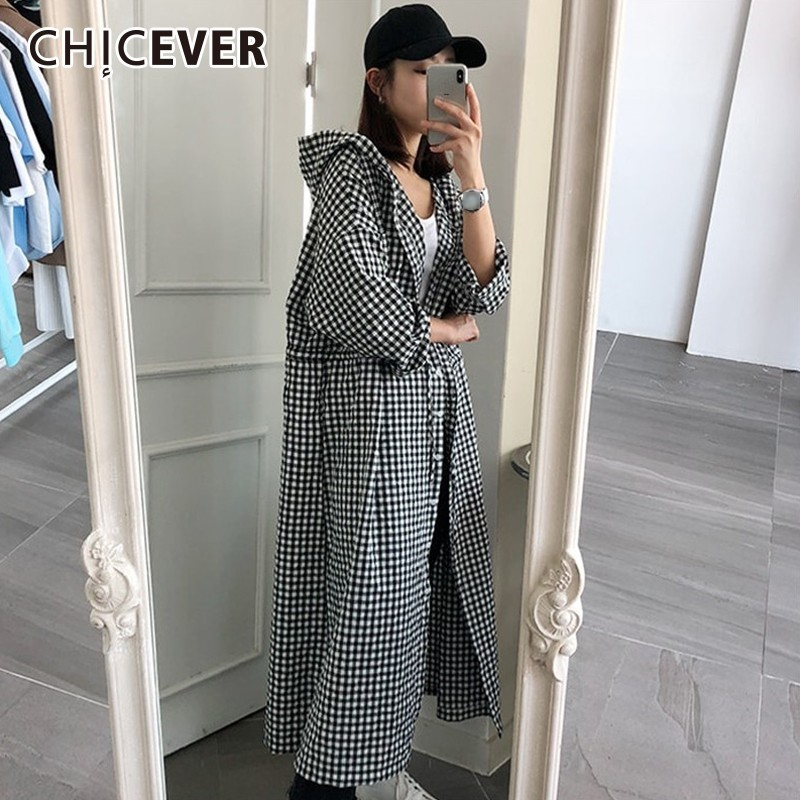 CHICEVER Plaid Women's Windbreaker Hooded Batwing Sleeve Single Breasted Loose Long Trench Female Coat Autumn Korean Fashion New