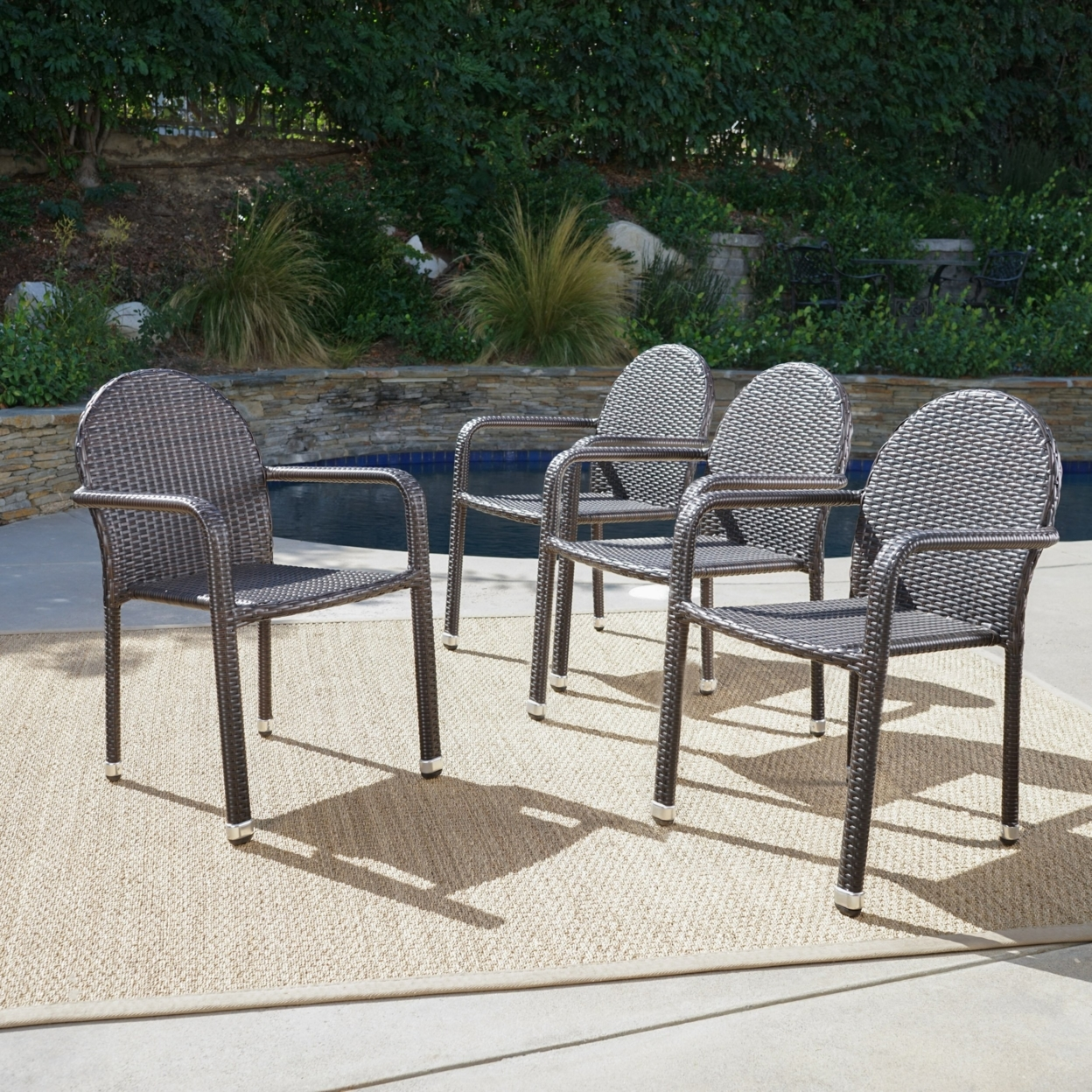 Angel outdoor wicker armed stack chairs with aluminum frame set of 4