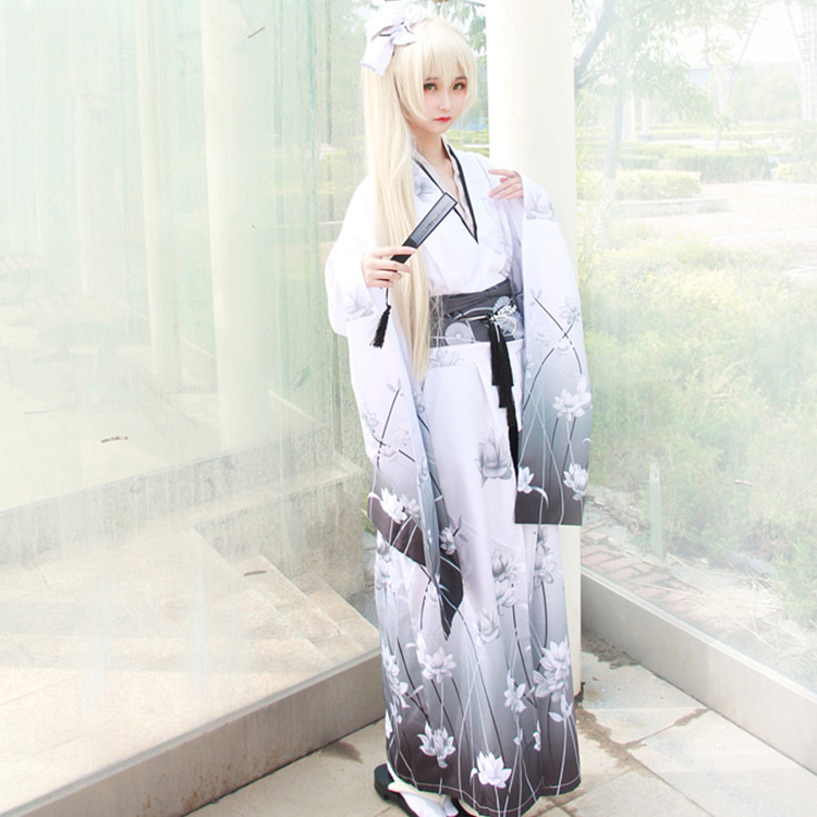 Japanese Women Kimono Yukata With Obi Classic Print Flower Cosplay Costumes Sexy Geisha Nightclub Cos Stage Costume H9021