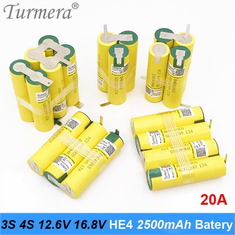 3S 12,6 V 4S 16,8 V Paquete de batería 18650 HE4 2500mah 20A corriente de descarga para shura destornillador batería (personalizar)