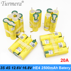 3S 12.6V 4S 16.8V Battery Pack 18650 HE4 2500mah 20A Discharge Current for shura screwdriver battery (customize)
