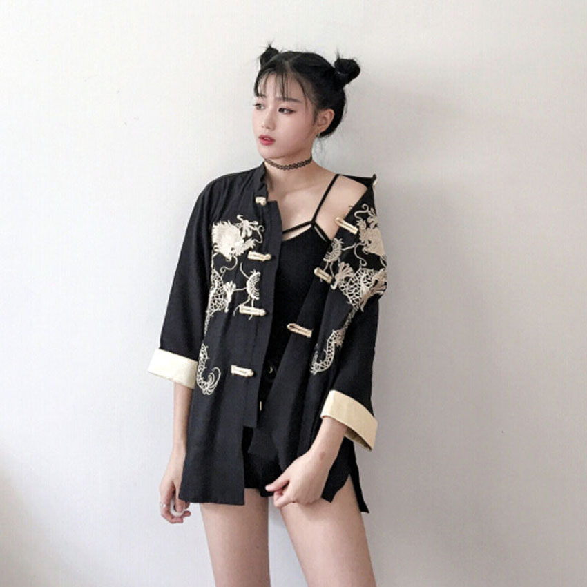 Dragon Embroidery Cotton Linen Soft Tops for Woman Chinese Tang Suit Hanfu Japanese Kimono Haori Lady Vintage Jacket