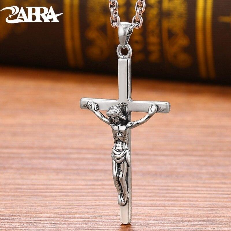 ZABRA 925 Sterling Silver Jesus Cross Pendant Religion Necklace For Men Women Christianity Vintage Jewelry