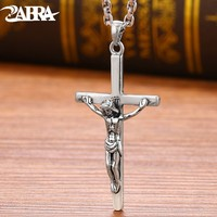 ZABRA 925 Sterling Silver Jesus Cross Pendant Religion Necklace For Men Women Christianity Vintage Jewelry