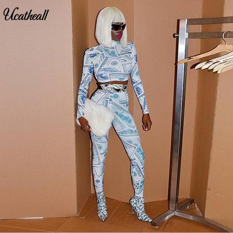 2018 New Sexy Clubwear 2 Piece Set Women US Dollar Printed High Neck  Leastic Crop Tops 02ffcc33fcf4