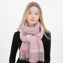 Plaid Women Scarf Winter Thick Warm Female Scarves Tassel Imitation Cashmere Shawl For Ladies Fashion Luxury Brand Size 210*70cm