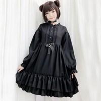 Rosetic Sweet Harajuku Goth Lolita Dress Short Mini Vintage Ruffles Bowknot Japanese Long Lantern Sleeve Autumn A Line Women