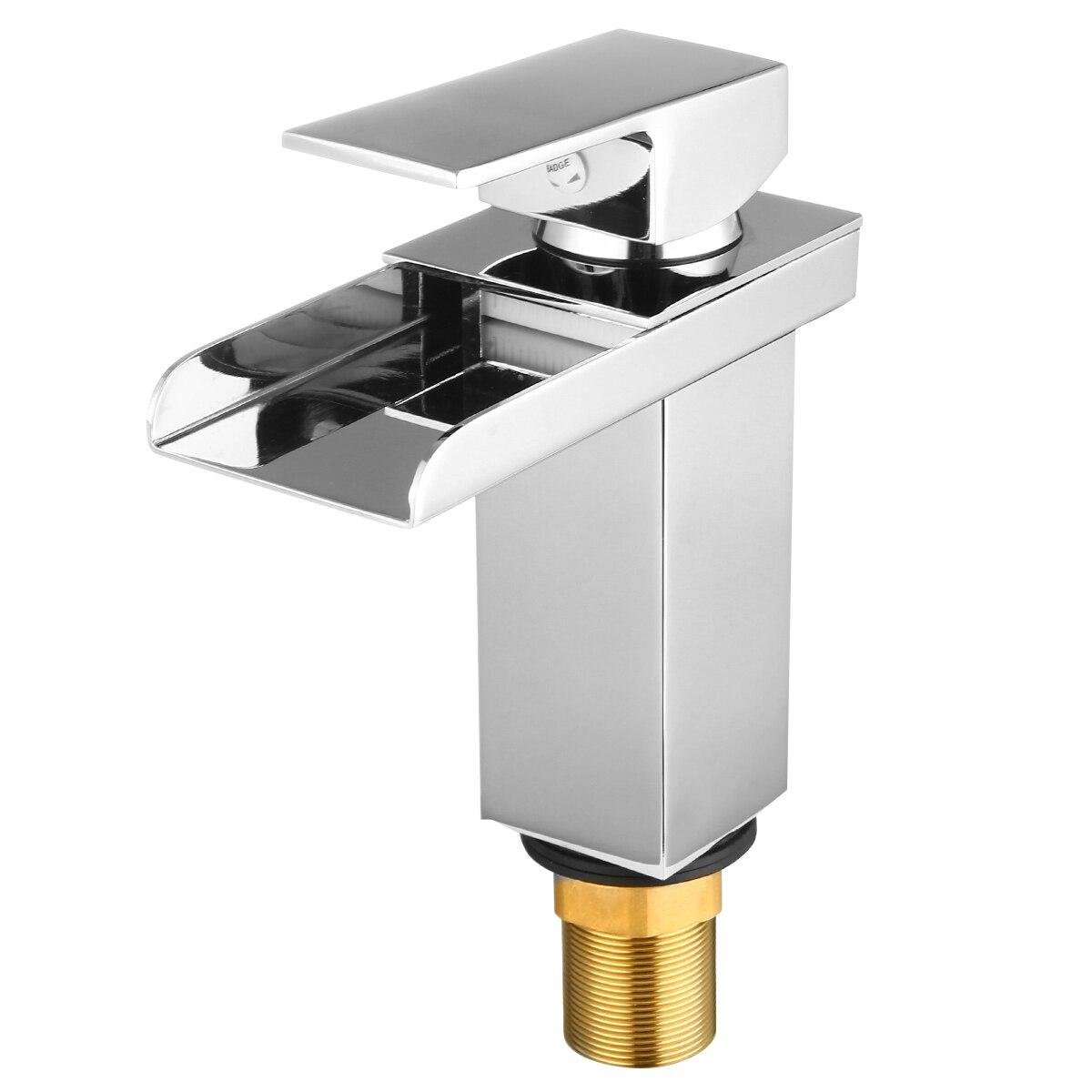 Mayitr Brass Chrome Waterfall Mixer Tap Kitchen Bathroom Single Handle Single Hole Sink Bathroom Fixtures FaucetsMayitr Brass Chrome Waterfall Mixer Tap Kitchen Bathroom Single Handle Single Hole Sink Bathroom Fixtures Faucets