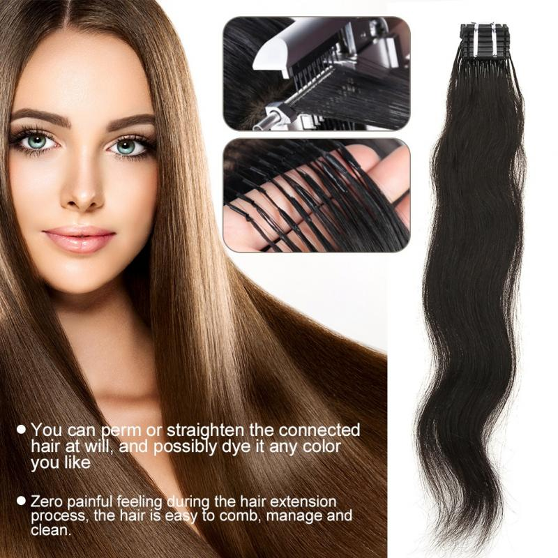 No-trace Hair Extension Clips Natural Real Hair Wig Ponytail Piece Tool Kit alileader essential hair holder for wig making drawing mats wire 2 piece cards hair drawing card hair extension tools