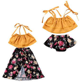 Family Sister Matching Outfits Summer Outfits Off shoulder Strap Crop Tops Floral Tutu Baby Bloomers Shorts Skirt 2PCS Set figurine