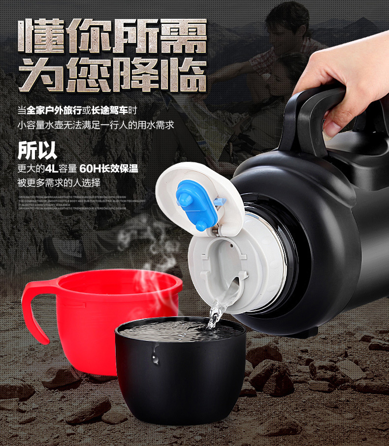 4L Stainless Steel Insulated Thermos Travel Coffee Mug Thermo Cup Thermal Vacuum Water Kettle Large My Bottle Thermal Cup - 4