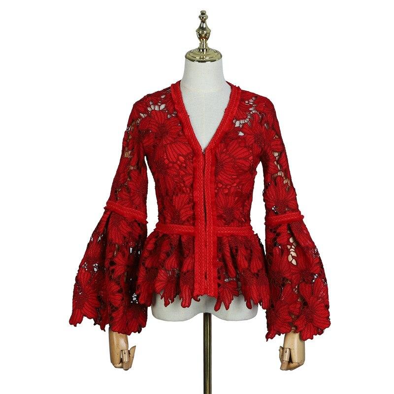 Steampunk Gothic Runde Kragen Rosen Blumen Flare Long Sleeve Schwarz Sexy Spitze Shirt Für Frauen Punk Aushöhlen Swallow schwanz Hemd - 2