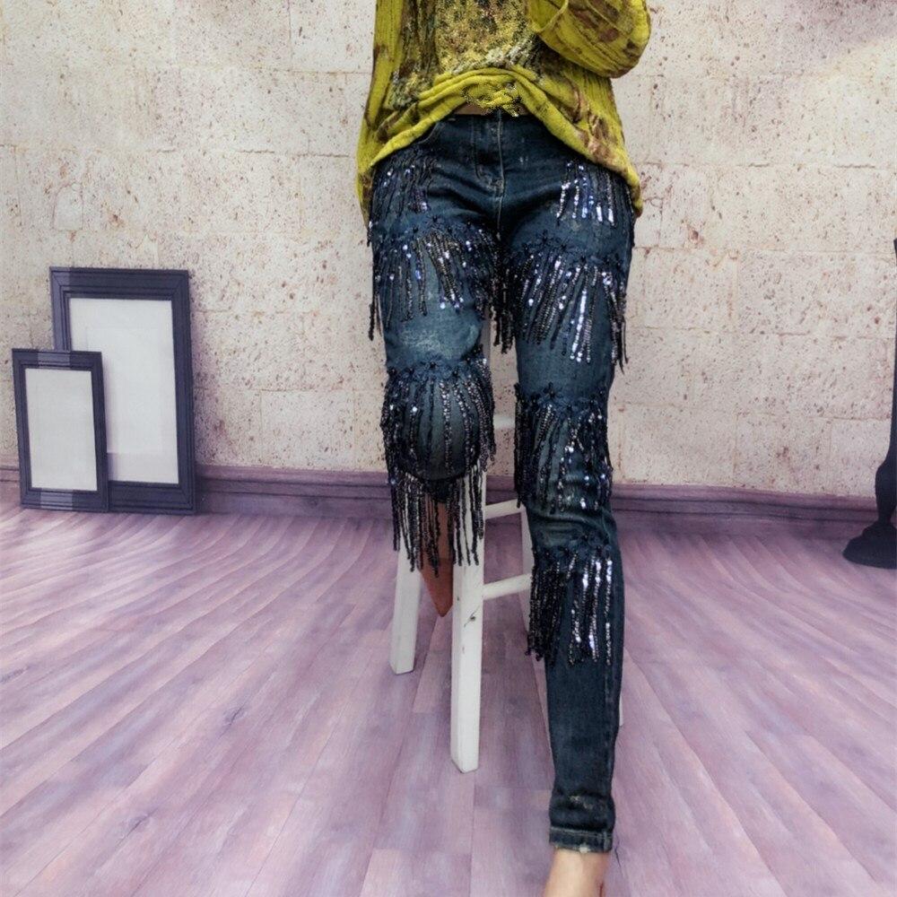 Azul Skinny Denim Pantalón Vaqueros Lentejuelas Borla Alta 2019 Pantalones Nueva Slim Casual Mujer Moda De Cintura Elástico qzx46