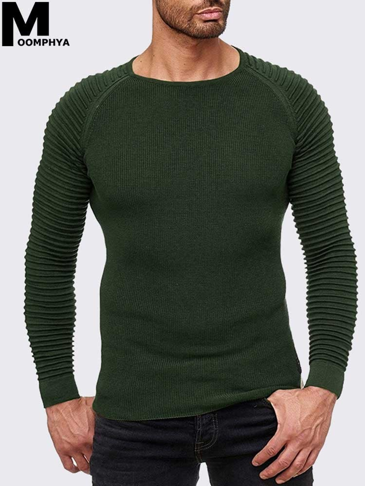 2019 New Arrived Pleated Sleeve O Neck Men Sweater Pullovers Streetwear Hip Hop Pull Homme Long Sleeve Sweater Men