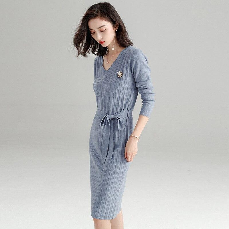 Makuluya chandail à manches longues en laine extensible pour femmes nouvelle Version coréenne robe tricotée plissée automne hiver printemps QW - 3