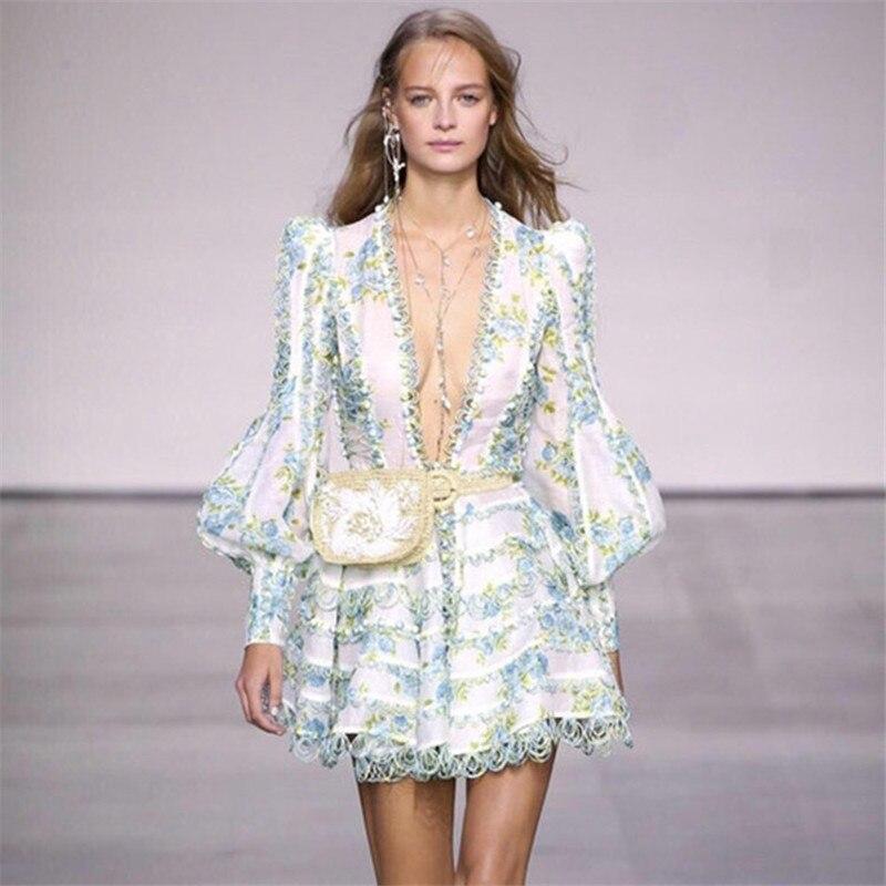 Col Robe Floral De Qualité Bouffée Pour Plage Imprimé Bouton Manches Femmes V Green Supérieure Vert Broderie Europe Vêtements Sexy Designer 6wEqBPp