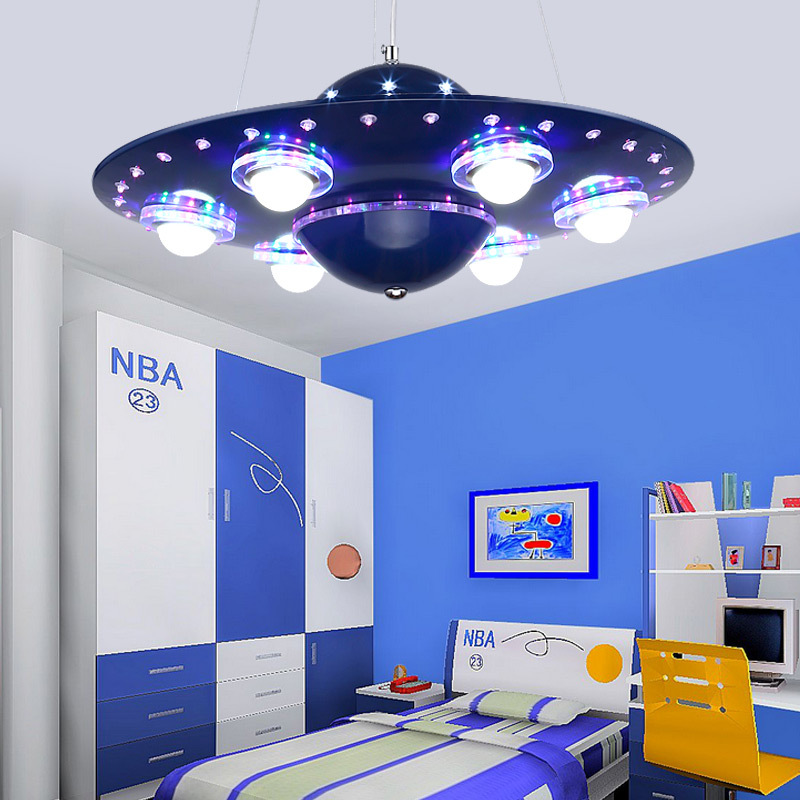 Remote Control UFO Pendant Light Silver Blue Children Kids Boy Bedroom Hanging Pendant Light Kindergarten Nursery School Fixture