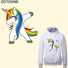ZOTOONE Cartoon Unicorn Patch Iron on Transfers for Kids Clothing DIY Applique Funny Stickers Clothes Heat Transfer Vinyl