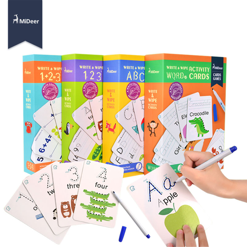 MiDeer Kids Learning Toys Activity Cards Write and Wipe Off Alphabet Words Math Game Early English Educational Toys for Children