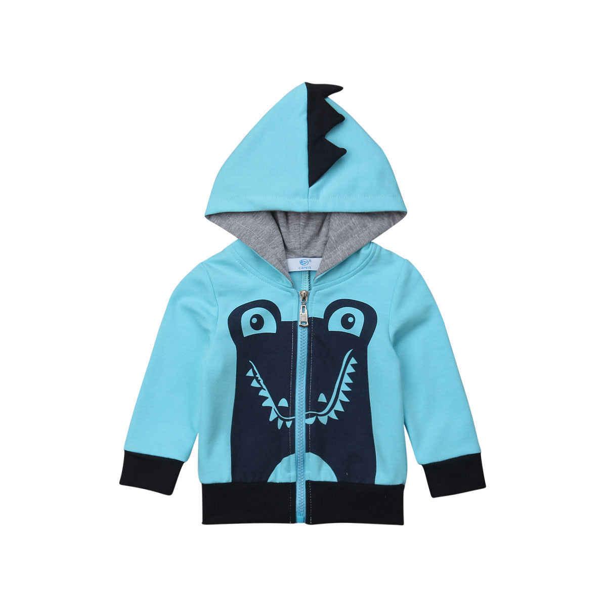 e6090a498 Kid Boy Outwear Shark Hoodie Coat Hooded Zip up Dinosaur Sweatshirt Jacket  Zipper Cute Coats Children
