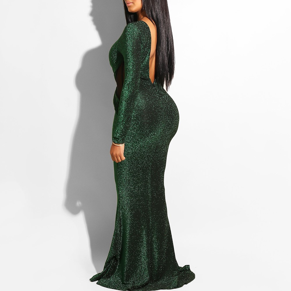 Elegant Sequin Green Backless Ladies Dress